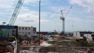 Council drills piles while sun shines