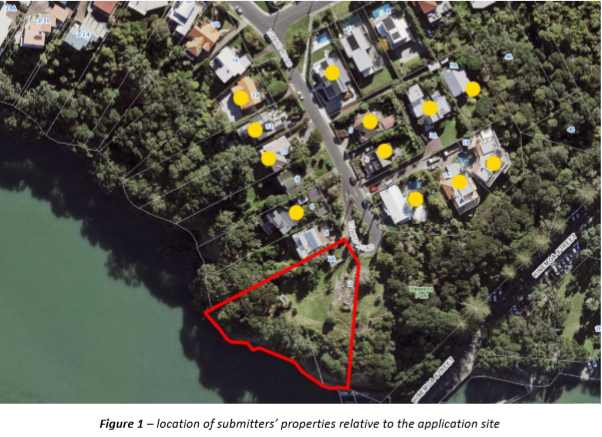Figure 1 – location of submitters' properties relative to the application site